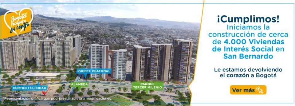 Imagen generada por computador del proyecto de vivienda en san bernardo con el mensaje: iniciamos construcción de cerca  de 4.000 Viviendas de Interés Social